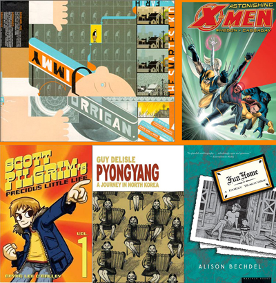 Some of the graphic novels Alexander Chee uses on his syllabus.